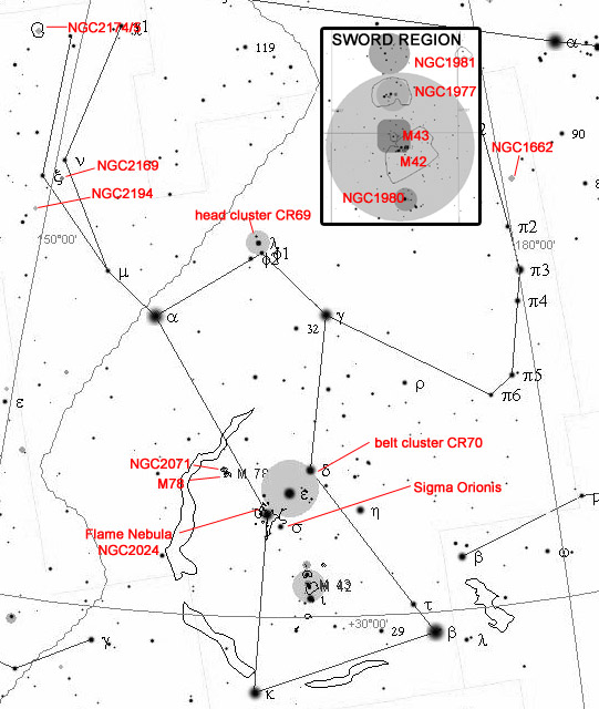 A guide to the constellation of Orion, beyond M42