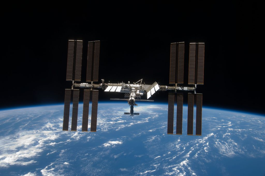 The International Space Station as it orbits the Earth